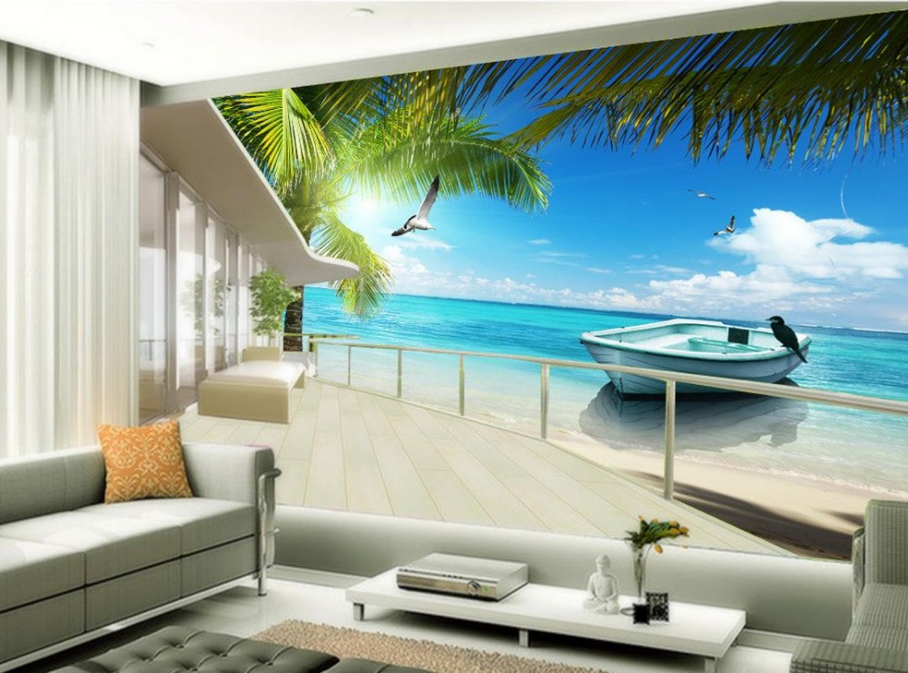 Online buy wholesale natures wallpapers from china natures for Beach mural wallpaper