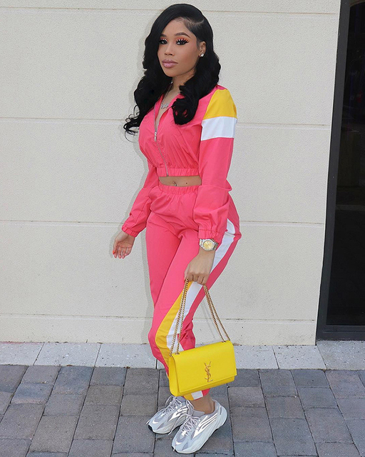 Street Style Yellow And Red Patchwork 2pcs Fashion Splicing Zipper Jacket And Long Pants Suits 2 Piece Set Sporting Outfits