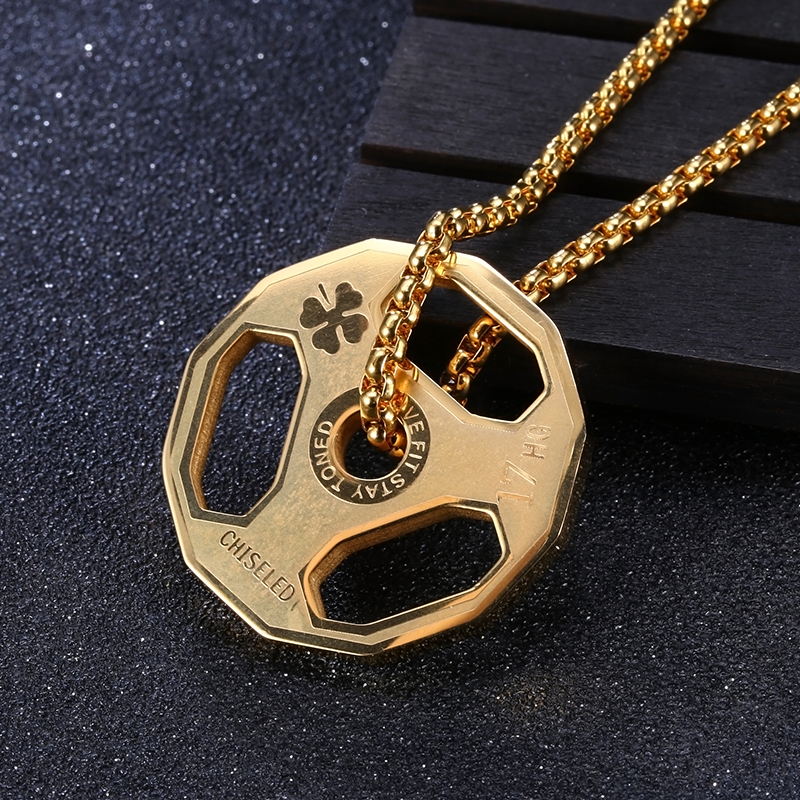 Stainless Steel Barbell Pendant Necklace Dumbbell Desing Fitness Gym Weightlifting Bodybuilding Exercise Jewelry
