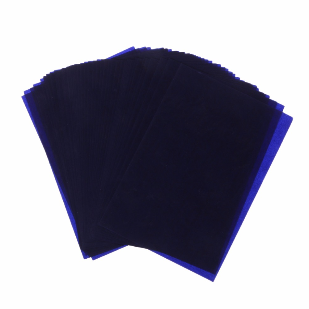 50 Sheets Dark Blue 18K Thin Type Double Sided Carbon Copier Stencil Transfer Paper School Office Stationery Supplies C26