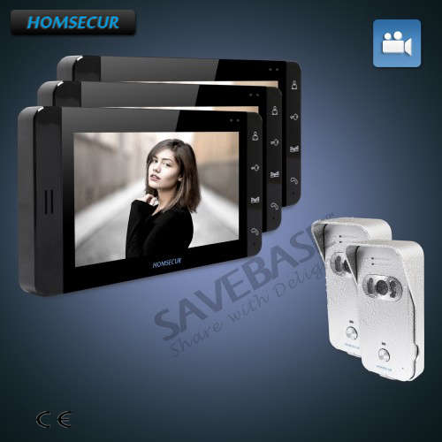 HOMSECUR 7 Wired Hands-free Video&Audio Home Intercom with Silver Camera+Black Monitor 2C3M