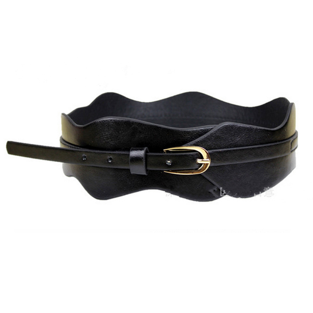Europe fashion wild wide black girdle decoration for women metal buckle irregular leather belts female coat dress Accessories