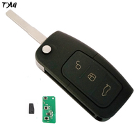 Black 3 Buttons Car Remote Flip Key For Ford Focus With 4D63 Chip 433MHZ