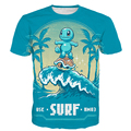 Cute Cartoon Pokemon t shirts Squirtle 3D t shirt Men Women Summer Vacation tees Funny Zenigame tee shirts tops