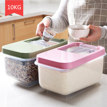 Kitchen Storage Organizer 10KG Grain Storage Container Rice Box Cereal Bean Container Sealed Box with Measuring Cup