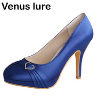 b981937a3 Hot Selling Satin Blue Heels For Womens Party Closed Toe Evening Prom Shoes  Platform