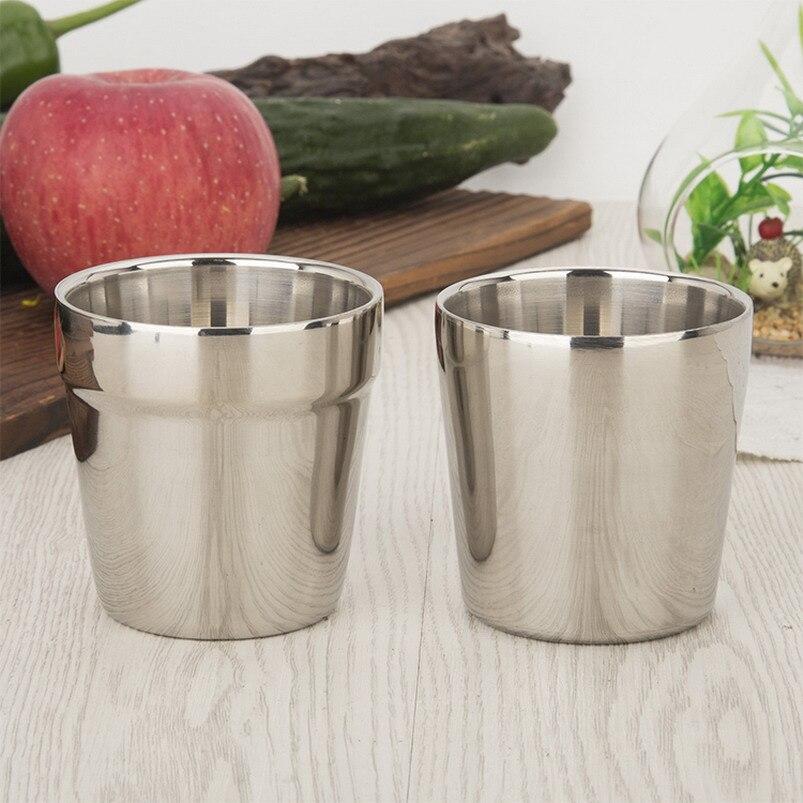 180 ml 커피 머그잔 더블 레이어 티 컵 와인 컵 scald proof 차 머그잔 스테인레스 스틸 컵 drinkware 주방 도구 s2017533-에서머그잔부터 홈 & 가든 의  그룹 1