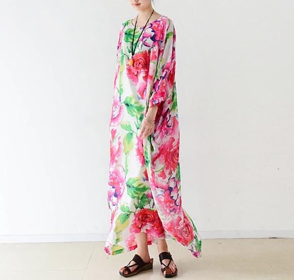 Neue Ankunft 2016 das meiste schöne Blumendruck Baumwollleinenkleid, - Damenbekleidung - Foto 3