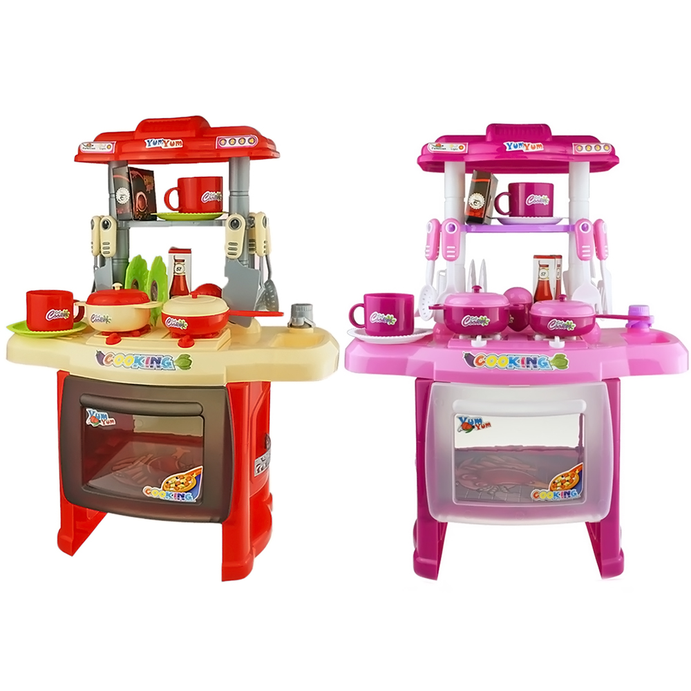 Kids Red Pink Diy Pretend Play Kitchen Food Cooking Toy Set With Light Sound Effect