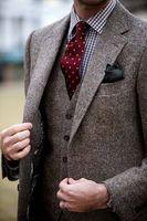 Ultimi Disegni Del Cappotto della Mutanda Grigio Tweed Vestito Da Uomo Slim Fit Skinny 3 Pezzo Smoking Su Misura Giacca Sportiva Casuale Sposo Prom Suit Terno Masculino