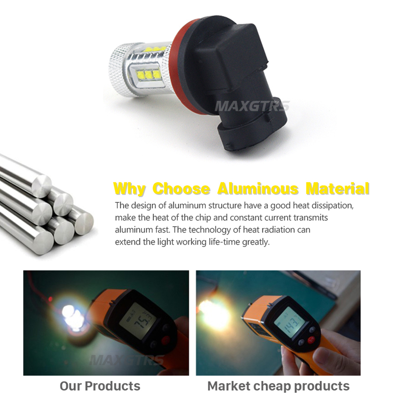 2x H8 H11 9005 9006 H16 CREE Chip LED Vit / Röd / Gul Bil dimma - Bilbelysning - Foto 3