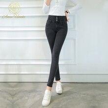 2017 Plus Size Jeans High Waist Vintage For Woman Skinny Elasticity 25-32 Pencil Pant boyfriend jeans Mom Trousers Fit Lady