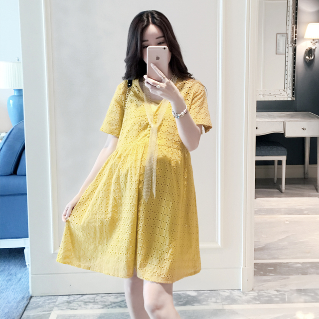 1457fd9cc07 Top quality summer dresses for pregnant women cotton linen yellow maternity  dress photography korean fashion clothing hot sale