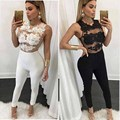 Black Apparel White Lace Up Summer Sexy Jumpsuit 2016 Spring Elastic Round Neck Fitness Bodycon Women's Jumpsuits Rompers Casual