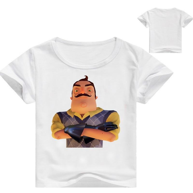 От 3 до 16 лет Hello сосед Забавные футболки игровая рубашка для девочек с коротким рукавом летняя одежда для мальчиков