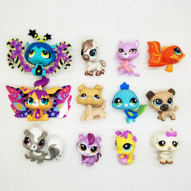 12pcs LPS cute toys little cat fish rabbit Dog fairy Lovely Pet shop animal action figure littlest doll
