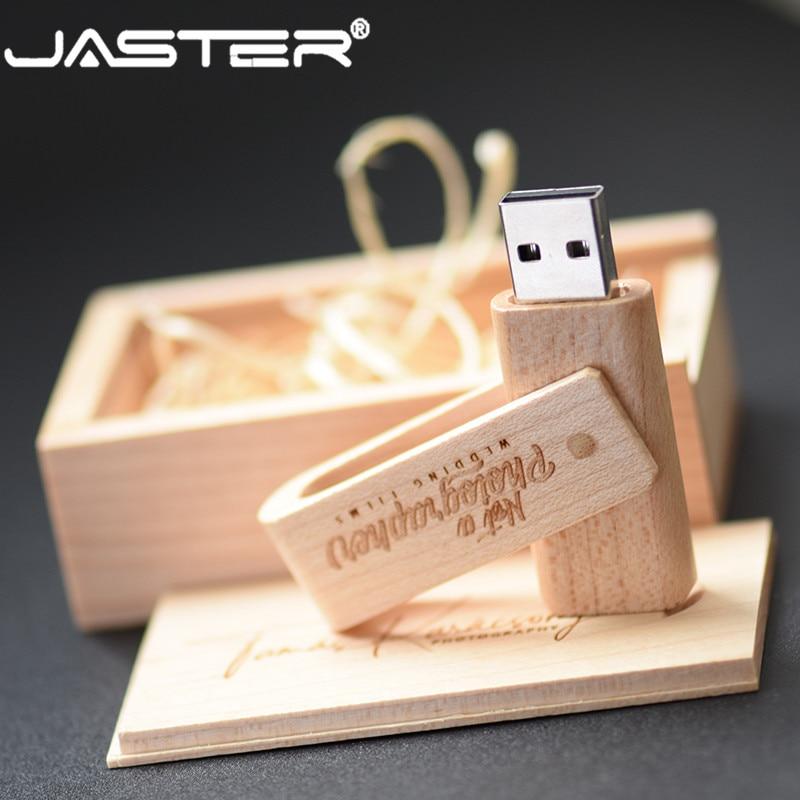 JASTER USB 2.0 Wooden Rotatable Pendrive Usb Flash Drive 4GB 8GB 16GB 32GB 64GB Memory Stick Pen Holder Custom LOGO Wedding Gift