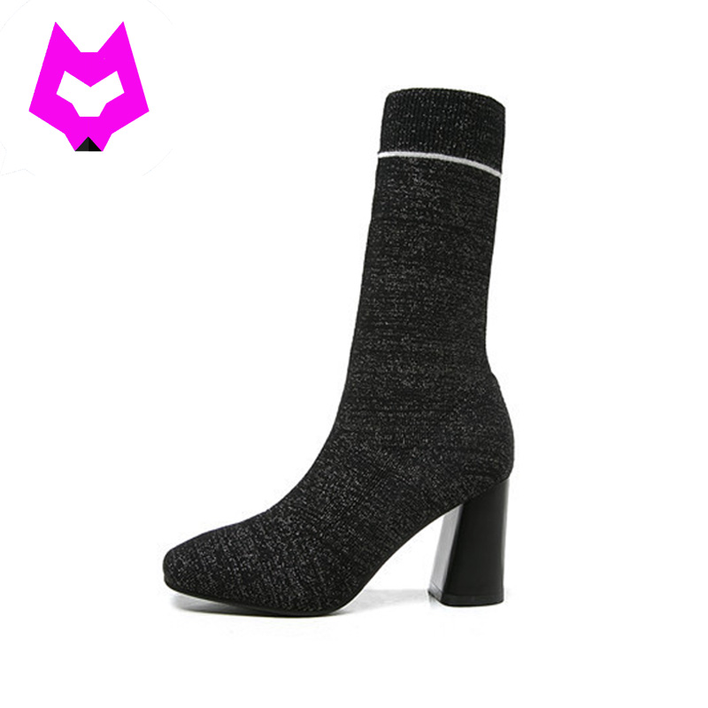 Mid-Calf Heels Boots Women Elegant Style Lasies Botas Warm Winter Boots Zapatos Mujer 2017 Sock Boots Fashion Bota Feminina double buckle cross straps mid calf boots