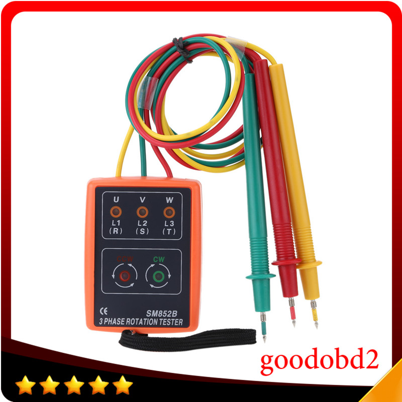 SM852B 3 Phase Sequence Rotation Indicator Tester Phase Indicator Detector Checker Meter Diagnostic tool with LED + Buzzer  цены