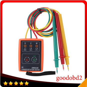 цена на SM852B 3 Phase Sequence Rotation Indicator Tester Phase Indicator Detector Checker Meter Diagnostic tool with LED + Buzzer