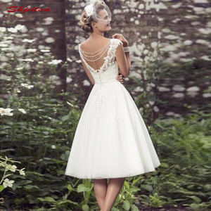 Image 2 - Short Lace Wedding Dresses Tulle Plus Size Bride Bridal Weding Weeding Dresses Gowns 2019
