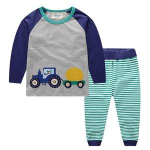 Image 2 - Jumping meters/Новое поступление, комплекты одежды для мальчиков и девочек, хлопковая зимняя детская одежда с животными, модные костюмы из 2 предметов, Толстовка и штаны