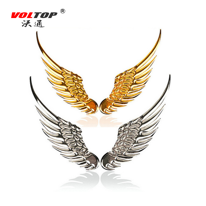 VOLTOP 3D Stereo Car Stickers Metal Eagle Angel Wings Auto Logo Motorcycle Sticker Car Styling Outside Decoration Accessories