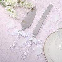 Stainless Steel Cake Knife Set Personalized Wedding Cake Knife Serving Set White Ribbon Diomand Customized Wedding