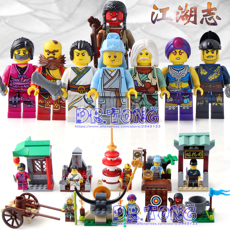 DR.TONG 8PCS/LOT 1504 New Enlighten Figures One of China Romance the Three Kingdoms Figures Heroes Building Blocks Toys sluban 0267 new romance of the three kingdoms battle of jingzhou building block set 3d construction brick gift toys diy