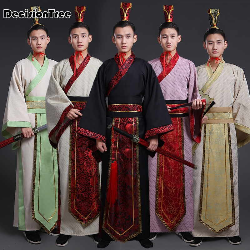 2019 summer ancient chinese costume men stage performance outfit for dynasty men hanfu costume satin robe chinese traditional