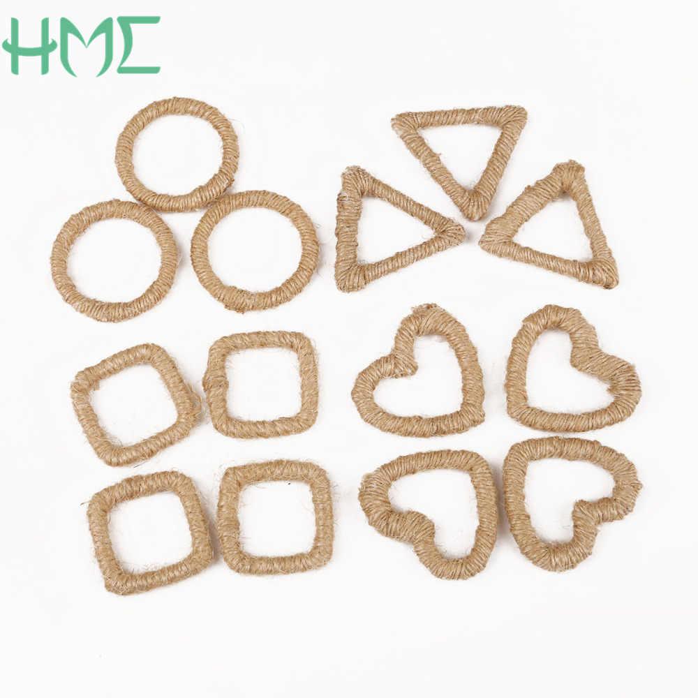 Diverse Dimensioni Kaki Tela di Iuta Canapa Perline Pendente di Fascino per Dell'orecchino del Braccialetto Della Collana Craft Fare DIY Decorazione di Cerimonia Nuziale