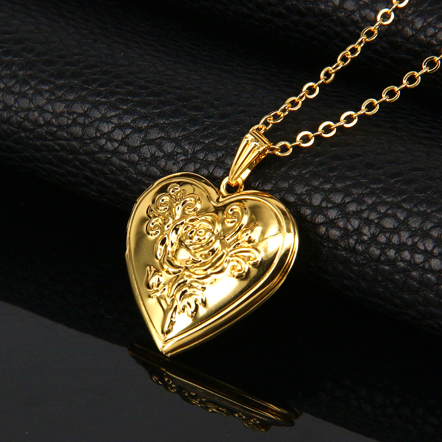 pendants lockets item gold plated classic girl color rose aruel valentines flower jewelry in flowers gift romantic from heart fashion pendant simple photo necklaces women locket