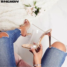TINGHON Women PVC Sandals Fashion champagne High Heeled Women Mules Sexy Thin Heel Shoes Open Toe Sandals Slippers Pumps vankaring brand summer shoes women sexy open toe high heel mules clogs platform sandals ladies leather slippers femal sandals