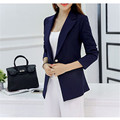 Business Work Design Lady Blazer One Button Long Sleeves Slim Pure Color Women Basic Coats
