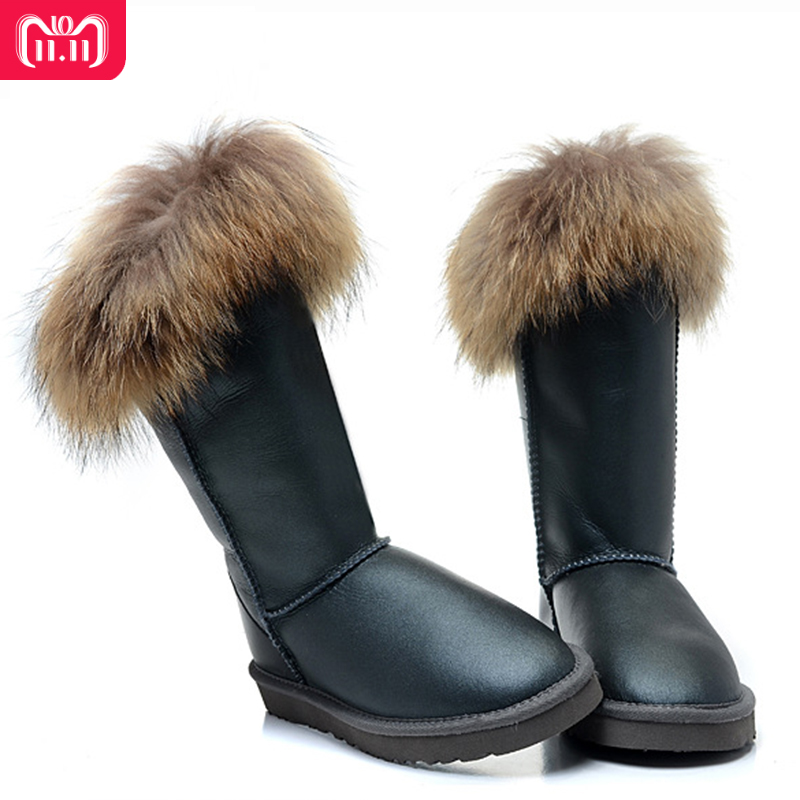 RUIYEE ladies snow boots fashion sheepskin waterproof boots wool shiny fur one-piece snow boots furry fox fur boots ruiyee ladies snow boots sheepskin wool integrated boots furry tie bow waterproof boots fashion warm non slip wear