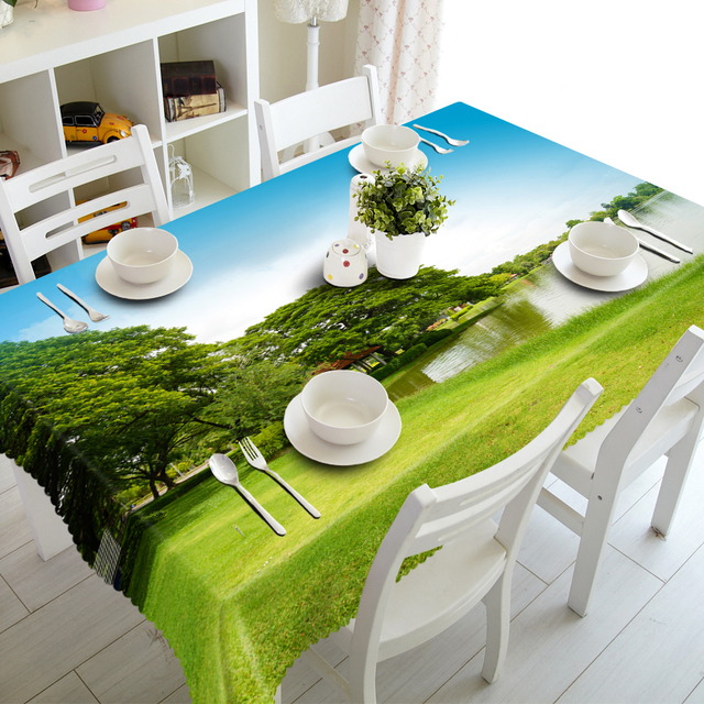 Customized Round Square Luxury Green Grassland Print Decorative 3D Cabinet  Cover Dinner Table Cloth Cover Polyester Fabric In Tablecloths From Home U0026  ...