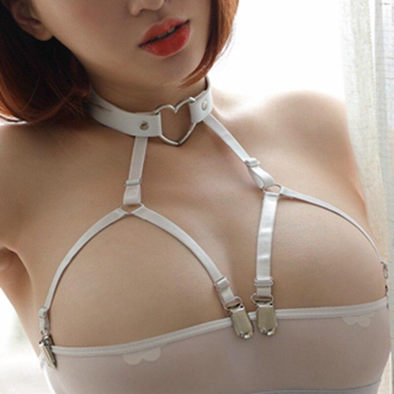 Party Queen Bandage Body Harness For Women Rave Wear Lingerie Sexy Charming Straps Garter Belt Cupless Bustier Neck Garter F9