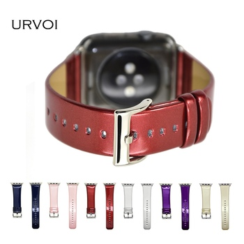 URVOI band voor apple watch serie 3 2 1 lederen band voor iwatch riem sportscar kleur ontwerp luxe metalen schilderen PU lederen