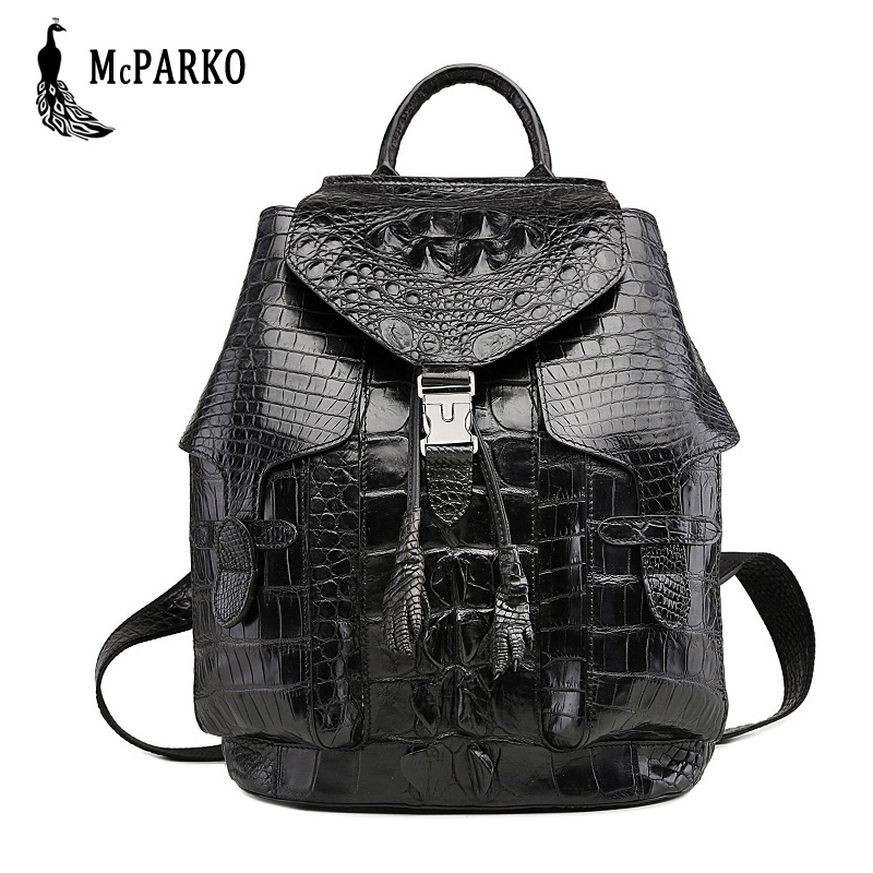 Fashion Style Mcparko Luxury Mens Backpack Crocodile Skin Genuine Leather Alligator Backpack Black Brown With The Most Up-To-Date Equipment And Techniques Men's Bags Backpacks