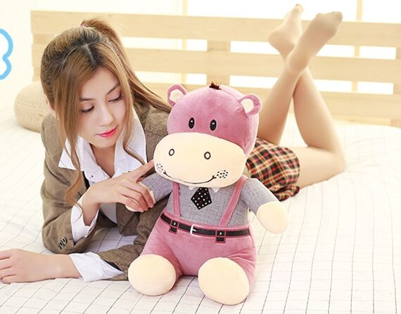 100% new toy large 40cm cartoon hippo dress strap cloth, plush toy soft  pillow birthday gift w2512 new arrival toy huge 120cm cartoon fat hippo plush toy blue hippo doll soft pillow christmas gift w2532