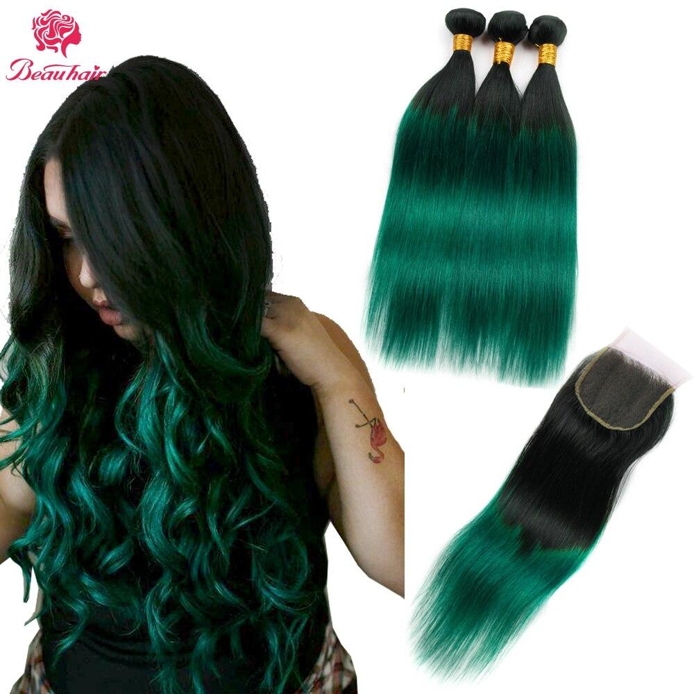 Beau Hair Ombre Bundlar Med Stängning 1B / Grön Två Tone Ombre - Skönhet och hälsa - Foto 2