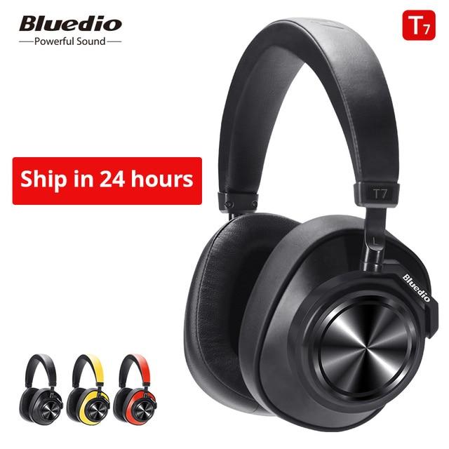 業 Bluedio T7 Bluetooth ヘッドフォンユーザー定義アクティブノイズキャンセルワイヤレスヘッドセット電話と音楽顔認識