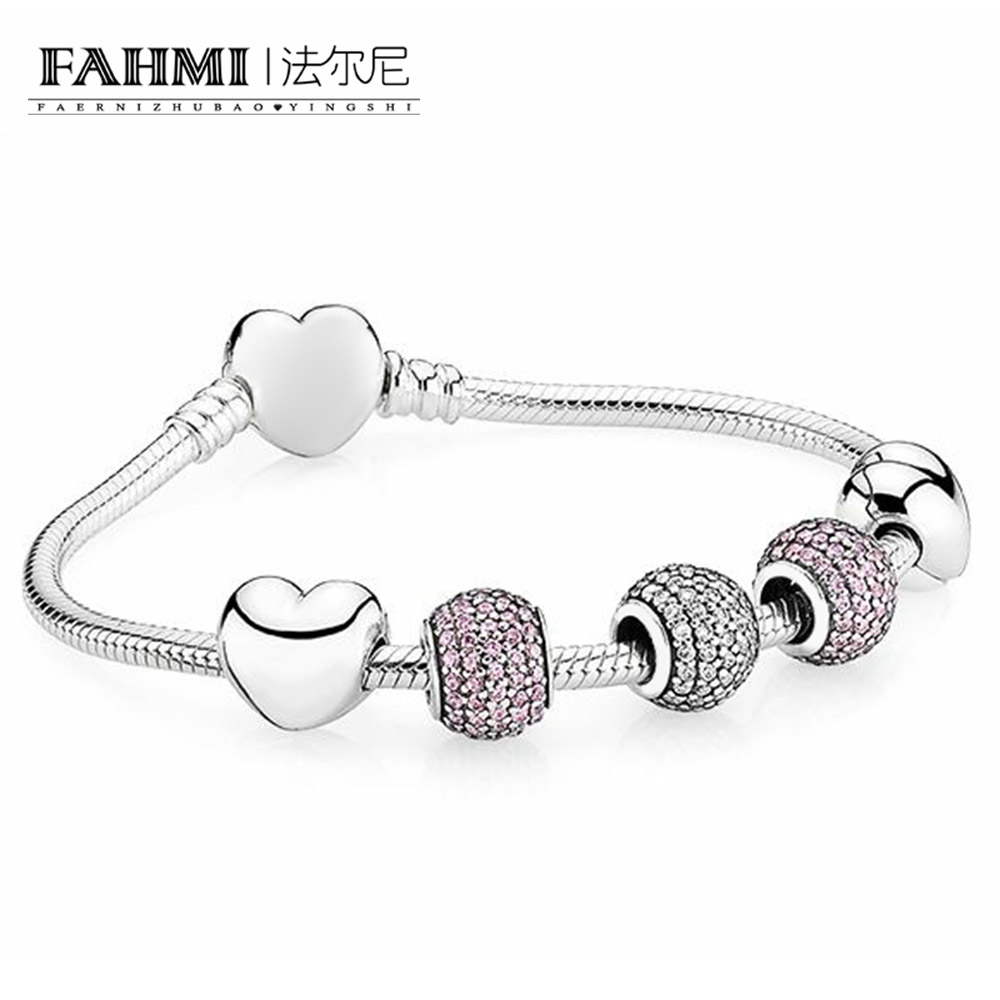 FAHMI 100% 925 Sterling Silver 1:1 PAVE BALL CHARM Beaded Bracelet with Heart-shaped Clasp Festival Day Gift Set JewelryFAHMI 100% 925 Sterling Silver 1:1 PAVE BALL CHARM Beaded Bracelet with Heart-shaped Clasp Festival Day Gift Set Jewelry