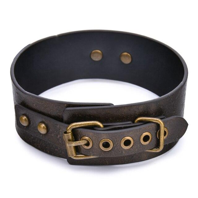 Brown Vintage Genuine Leather Sex Bdsm Collar With Leash Slave Bondage Collar Bdsm Fetish Sex Toys For Woman Couples Sm Toys 4