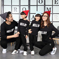 2017 fall and winter family clothing cotton O-neck bottoming long sleeve T-shirt father mother son Sweatshirts outfits Black