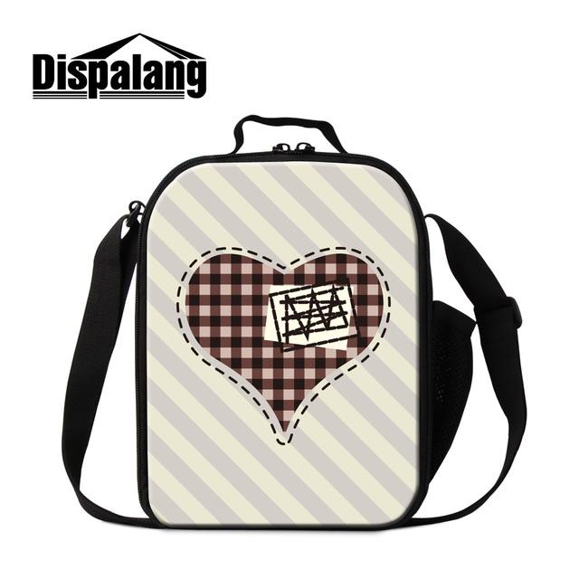 Dispalang filhos adoráveis listrado amor design personalizado almoço sacos térmicos isolados lunch box bag para meninas mulheres térmica sacos de comida