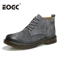 Botas feitas à mão de couro de vaca tornozelo botas de inverno moda estilo britânico botas de couro de qualidade superior brogues sapatos de inverno para homem