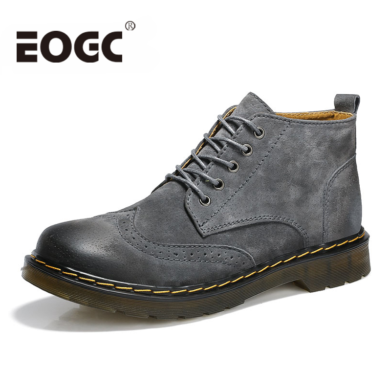 Handmade Men Boots Cow Leather Ankle Winter Boots Fashion British Style Leather Boots Top Quality Brogues Winter Shoes For Men