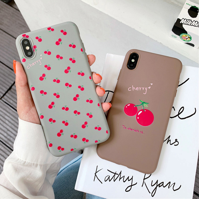 KIPX1099_1_JONSNOW Phone Case For iPhone 7 8 Plus 6S 6 Plus XS XR XS Max Cherry Pattern Soft Silicone Case Back Cover Capa Coque Fundas