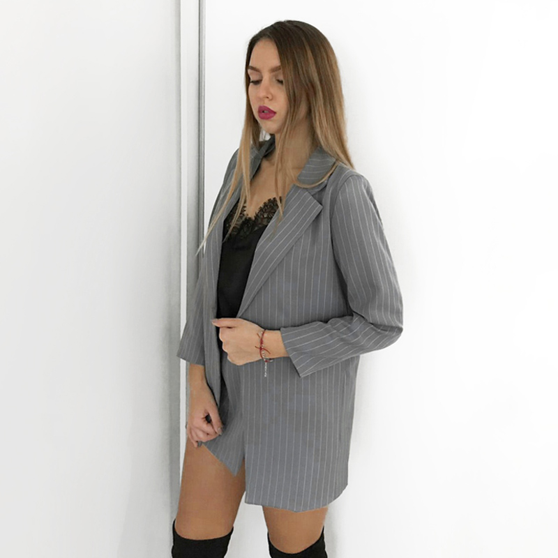 Fashion Women Skirt Suits One Button Notched Striped Blazer Jackets and Slim Mini Skirts Two Pieces OL Sets Female Outfits 19 11